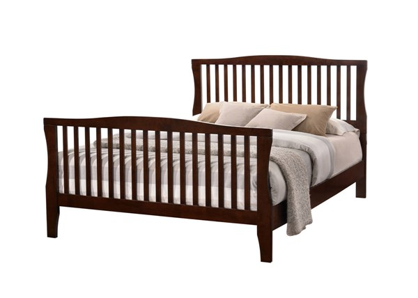 Riggins Contemporary Brown Cherry Solid Wood Cal King Bed FOA-CM7070CK-BED