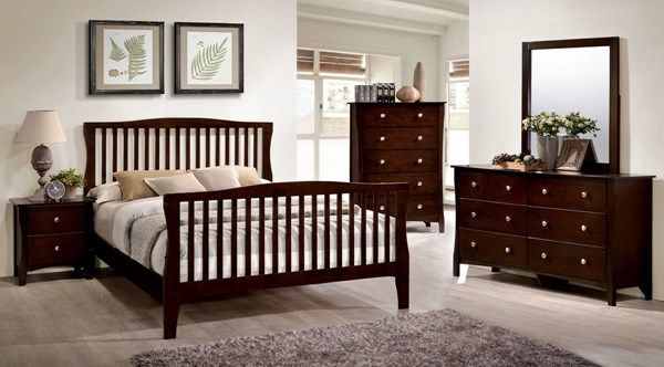 Riggins Contemporary Brown Cherry Solid Wood Master Bedroom Set FOA-CM7070-BR
