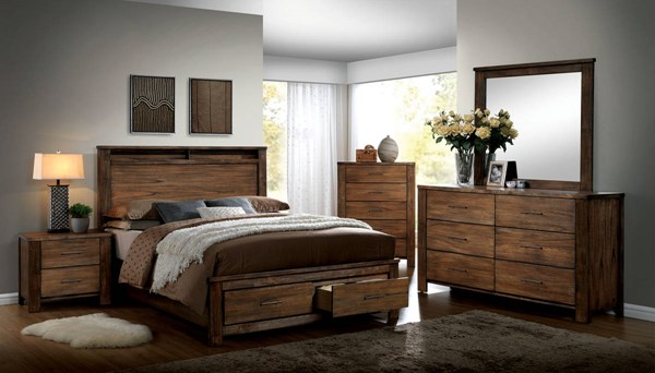 Elkton Oak Solid Wood Master Bedroom Set FOA-CM7072-BR