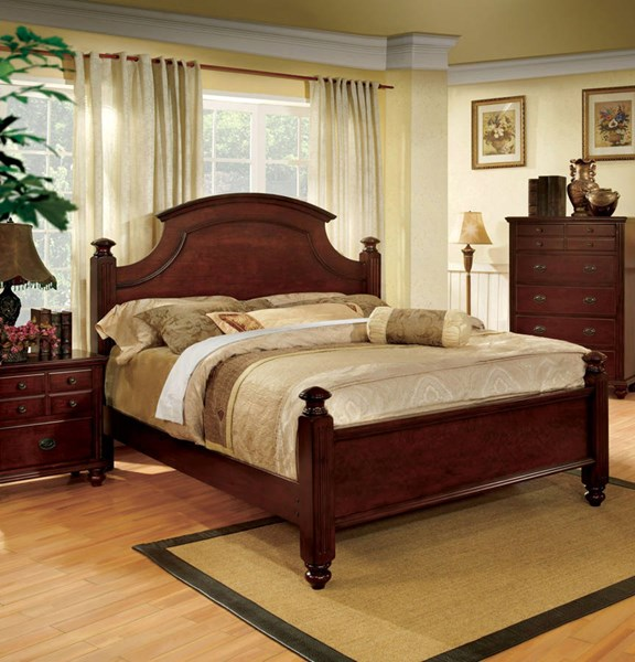 Gabrielle II Transitional Cherry Solid Wood King Bed FOA-CM7083EK-BED