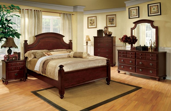 Gabrielle II Transitional Cherry Solid Wood Master Bedroom Set FOA-CM7083-BR