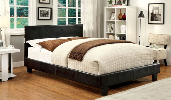 Evans Contemporary Espresso Leatherette Solid Wood Cal King Bed FOA-CM7099EX-CK-BED