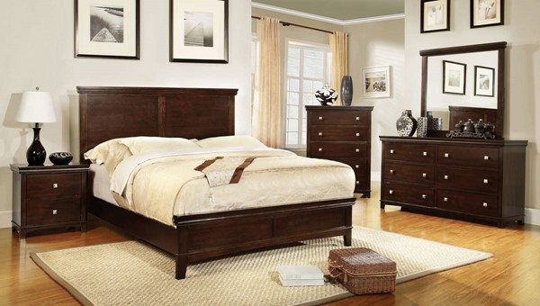 Spruce Transitional Brown Cherry Espresso Solid Wood Beds FOA-CM7113-BED-VAR