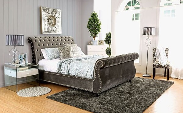 Noella Contemporary Gray Flannelette Solid Wood Queen Bed FOA-CM7128GY-Q-BED