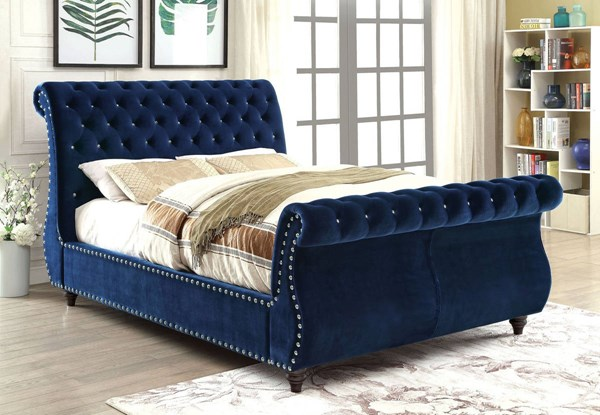 Noella Contemporary Navy Flannelette Solid Wood King Bed FOA-CM7128NV-EK-BED