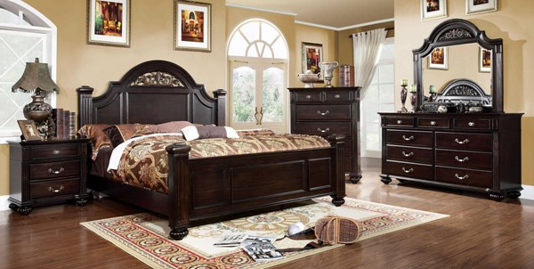 Syracuse Traditional Dark Walnut Solid Wood Master Bedroom Set FOA-CM7129-BR