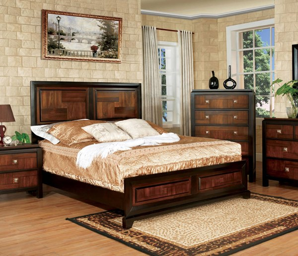 Patra Transitional Acacia Walnut Solid Wood King Bed FOA-CM7152EK-BED