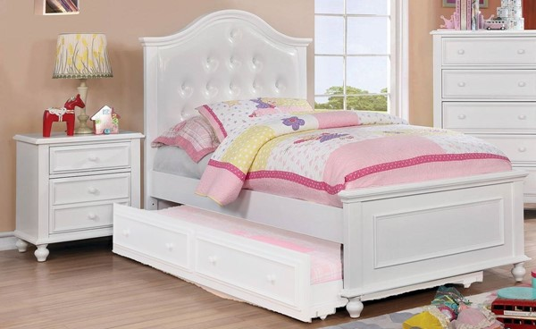 Furniture of America Olivia White 2pc Bedroom Set with Full Bed FOA-CM7155WH-F-KBR-S1