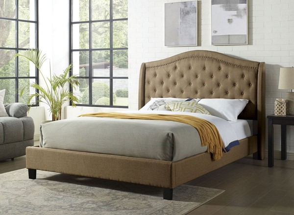 Furniture of America Carly Brown Platform Cal King Bed FOA-CM7160BR-CK-BED