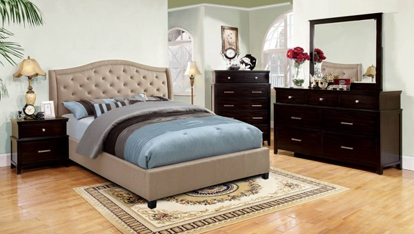 Marisko Taupe Fabric Espresso Solid Wood Master Bedroom Set FOA-CM7161-BR