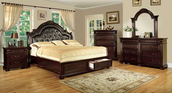 Scottsdale Brown Cherry Solid Wood Leatherette Master Bedroom Set FOA-CM7162-BR