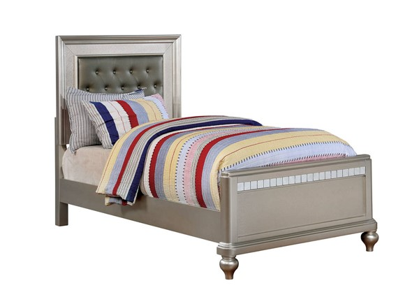 Furniture of America Ariston Silver Tufted Twin Bed FOA-CM7170SV-T-BED