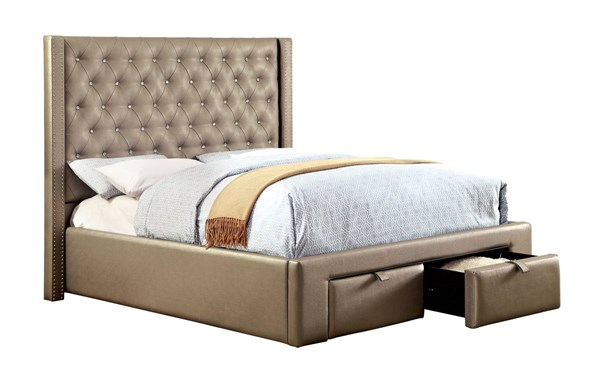 Corina Contemporary Silver Leatherette Solid Wood 2 Drawers King Bed FOA-CM7180EK-BED