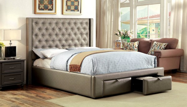 Corina Contemporary Silver Leatherette Solid Wood 2 Drawers Queen Bed FOA-CM7180Q-BED