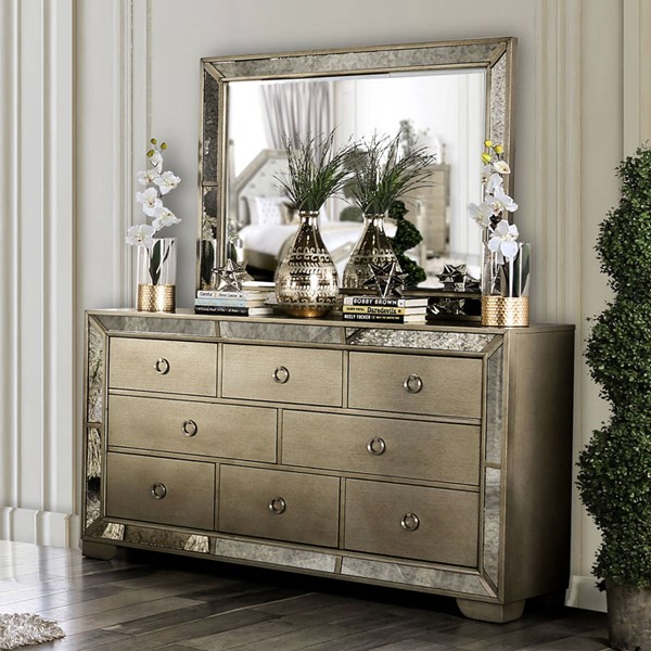 Furniture Of America Loraine Champagne Dresser And Mirror FOA-CM7195-DRMR