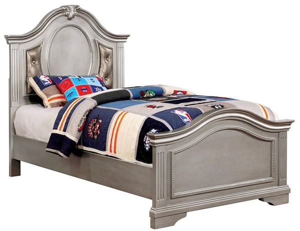 Furniture Of America Claudia Silver Tufted Twin Bed FOA-CM7199L-T-BED