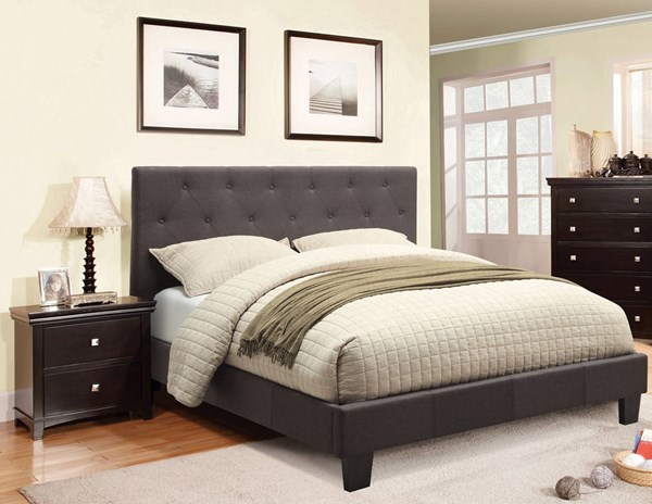 Furniture of America Leeroy Gray 2pc Bedroom Set with Cal King Bed FOA-CM7200-7113CK-LB-BR-S1