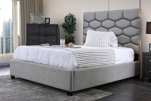 Furniture of America Celestia Gray Cal King Bed FOA-CM7202CK-BED