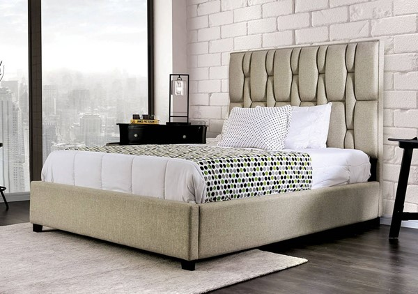Furniture of America Deirdre Beige Cal King Bed FOA-CM7203CK-BED