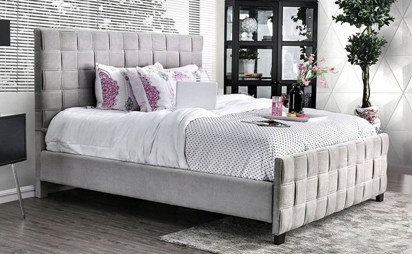 Furniture of America Katerina Gray Cal King Bed FOA-CM7207CK-BED