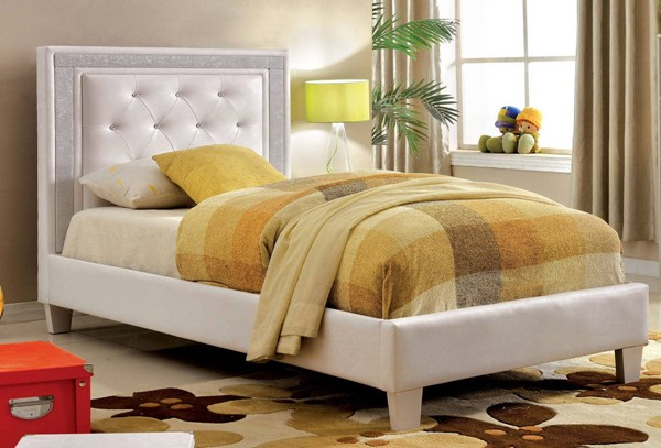 Furniture of America Lianne White Twin Bed FOA-CM7217WH-T-BED