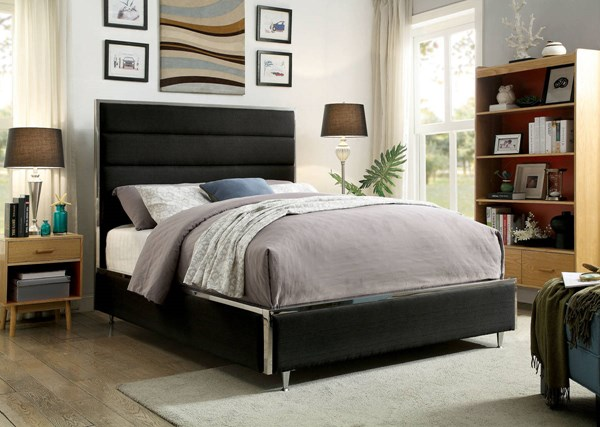 Gillian Contemporary Black Fabric Solid Wood Queen FOA-CM7262BK-Q-BED