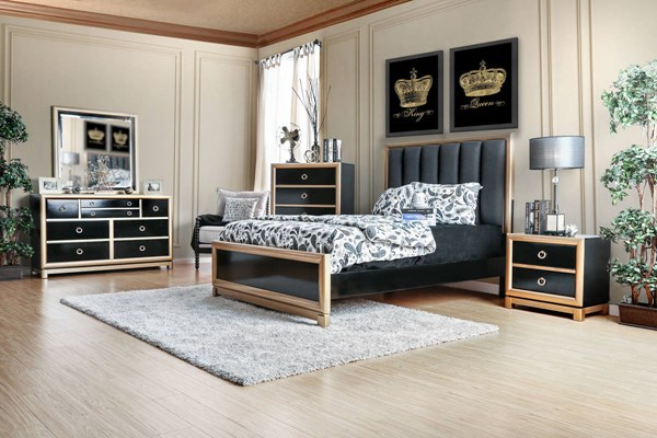 Braunfels Contemporary Black Gold Solid Wood Queen Bed FOA-CM7263Q-BED