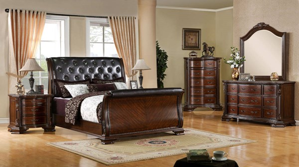 South Yorkshire Brown Cherry Leatherette Solid Wood Master Bedroom Set FOA-CM7267-BR