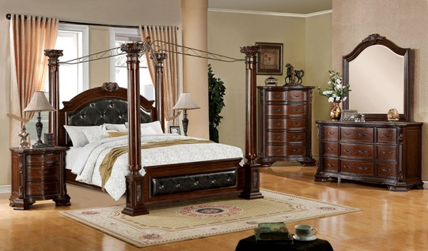 Mandalay Brown Cherry Solid Wood Leatherette Master Bedroom Set FOA-CM7271-7267-BR