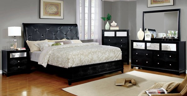 Bryant II Black Silver Leatherette Solid Wood Master Bedroom Set FOA-CM7289-BR