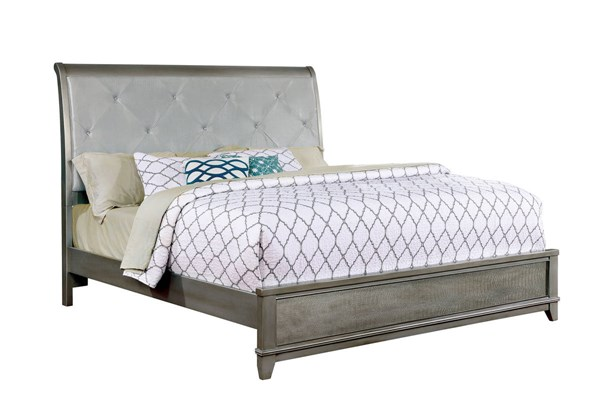 Bryant II Contemporary Silver Leatherette Solid Wood King Bed FOA-CM7289SV-EK-BED