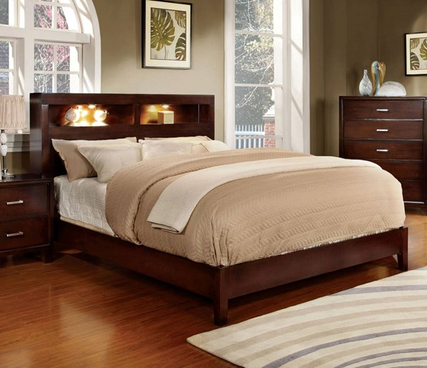 Furniture of America Gerico I Brown Cherry Queen Bed FOA-CM7290CH-Q-BED