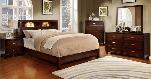 Gerico I Contemporary Brown Cherry Solid Wood Master Bedroom Set FOA-CM7290-BR