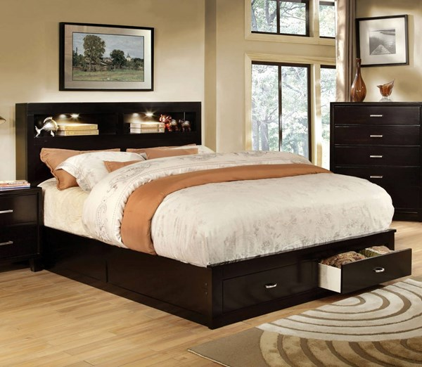 Gerico II Contemporary Espresso Solid Wood Cal King Bed FOA-CM7291EX-CK-BED