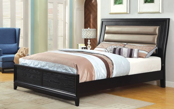 Golva Contemporary Black Solid Wood Leatherette Queen Bed FOA-CM7295Q-BED