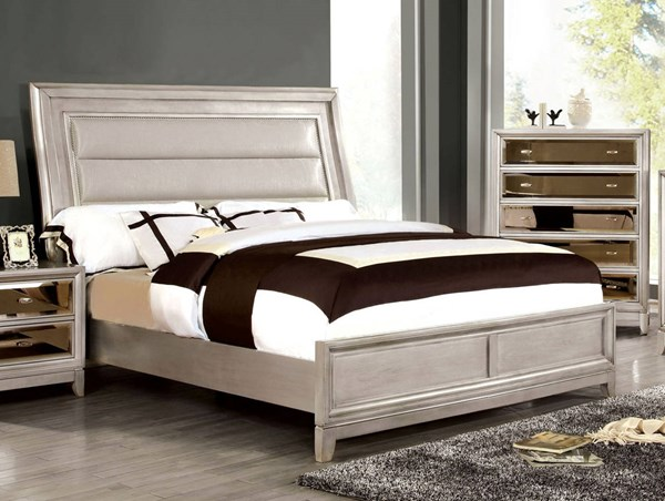 Golva Contemporary Silver Solid Wood Leatherette King Bed FOA-CM7295SV-EK-BED