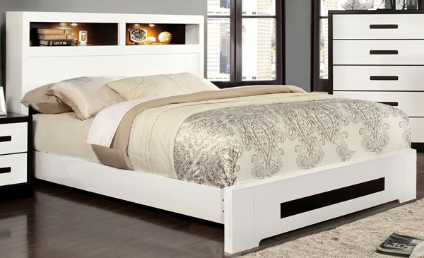 Rutger Contemporary White Black Solid Wood Queen Bed FOA-CM7297Q-BED