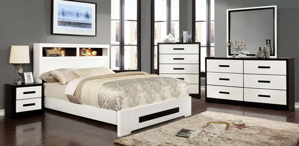 Rutger Contemporary White Black Solid Wood Master Bedroom Set FOA-CM729-BR