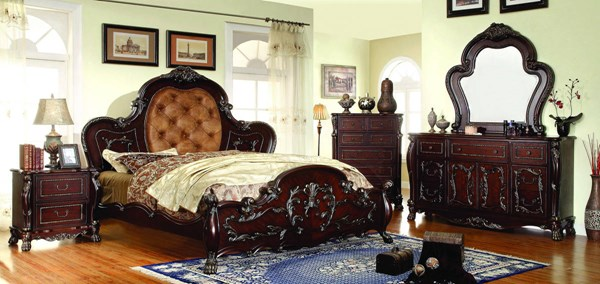 Castlewood Traditional Cherry Leatherette Solid Wood King Bed FOA-CM7299EK-BED