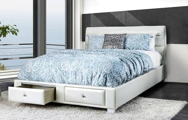 Furniture of America Demi White Beds FOA-CM7301-BED-VAR