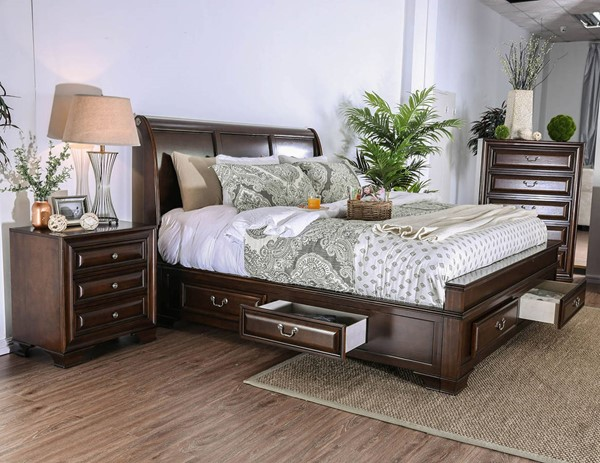Furniture of America Brandt Brown Cherry 2pc Bedroom Set with Queen Bed FOA-CM7302CH-Q-BR-S3