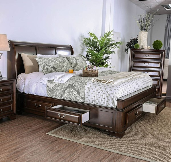 Furniture of America Brandt Brown Cherry Cal King Bed FOA-CM7302CH-CK-BED