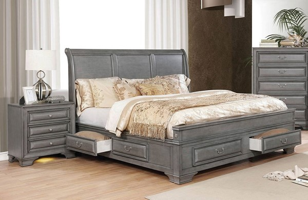 Furniture of America Brandt Gray 2pc Bedroom Set with King Bed FOA-CM7302GY-EK-BR-S2