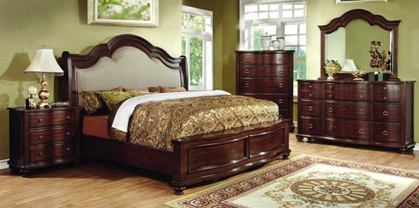 Bellavista Brown Cherry Solid Wood Fabric Master Bedroom Set FOA-CM7350-BR