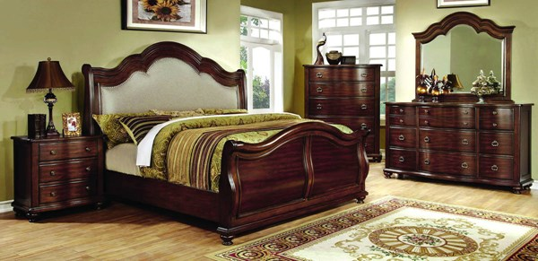 Bellavista Traditional Brown Cherry Solid Wood Fabric Cal King Bed FOA-CM7350H-CK-BED