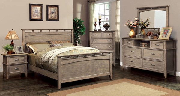Loxley Transitional Weathered Oak Solid Wood Master Bedroom Set FOA-CM7351-BR