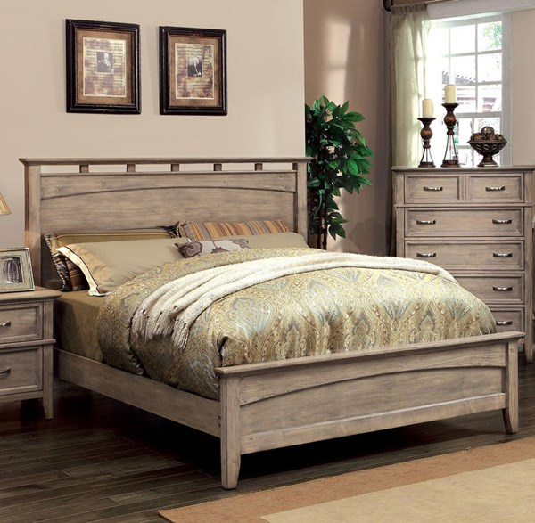 Loxley Transitional Weathered Oak Solid Wood Queen Platform Bed FOA-CM7351L-Q-BED