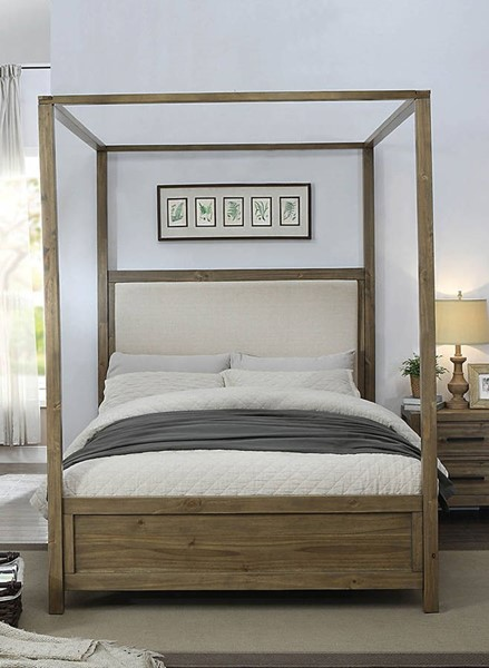 Furniture of America Garland Fabric Queen Canopy Bed FOA-CM7356Q-BED