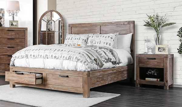 Furniture of America Wynton Light Oak 2pc Bedroom Set with Queen Bed FOA-CM7360Q-BR-S2
