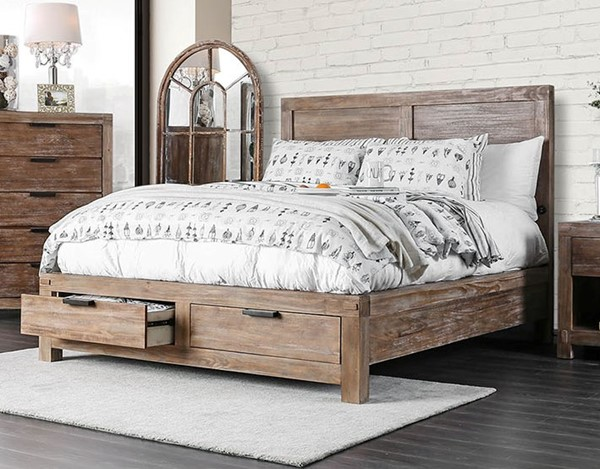 Furniture of America Wynton Light Oak Beds FOA-CM7360-BED-VAR